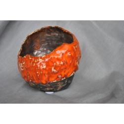 Ręcznie robiony, ceramiczny świecznik pomarańczowo-złoty