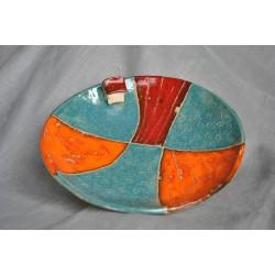 Ręcznie robiona, ceramiczna patera z domkiem