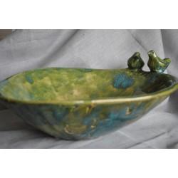 Handmade - ceramiczna, owalna misa z ptaszkami