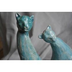 Ręcznie robiona, ceramiczna para turkusowych kotów