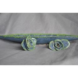 Handmade - podłużna, ceramiczna patera z różami