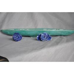 Handmade - ceramiczna podłużna, seledynowa patera